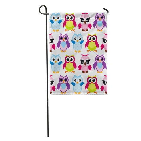 JSDART Colorful Cartoon Funny Owls Pattern on Happy and Joyful Garden Flag Decorative Flag House Banner 28x40 inch - image 1 of 2