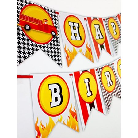 Fireman Party Happy Birthday Banner for $<!---->