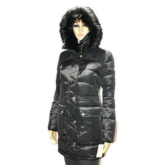 6ad597601 MICHAEL KORS Women's Faux Fur Hood DOWN Puffer Coat Jacket BLACK