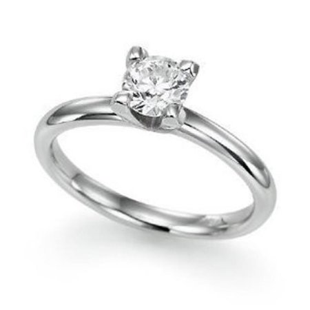 Solitaire 14 KT White 0.33 CT Diamond Ladies Solitaire Ring, 7 in. - image 1 of 1