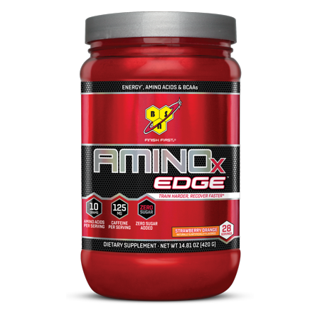 Bsn Amino X Edge Amino Acids   Bcaa Powder  Strawberry Orange  28 Servings