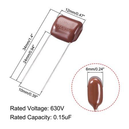 CBB21 Metallized Polypropylene Film Capacitors 630V 0.15uF 5pcs - image 1 of 3