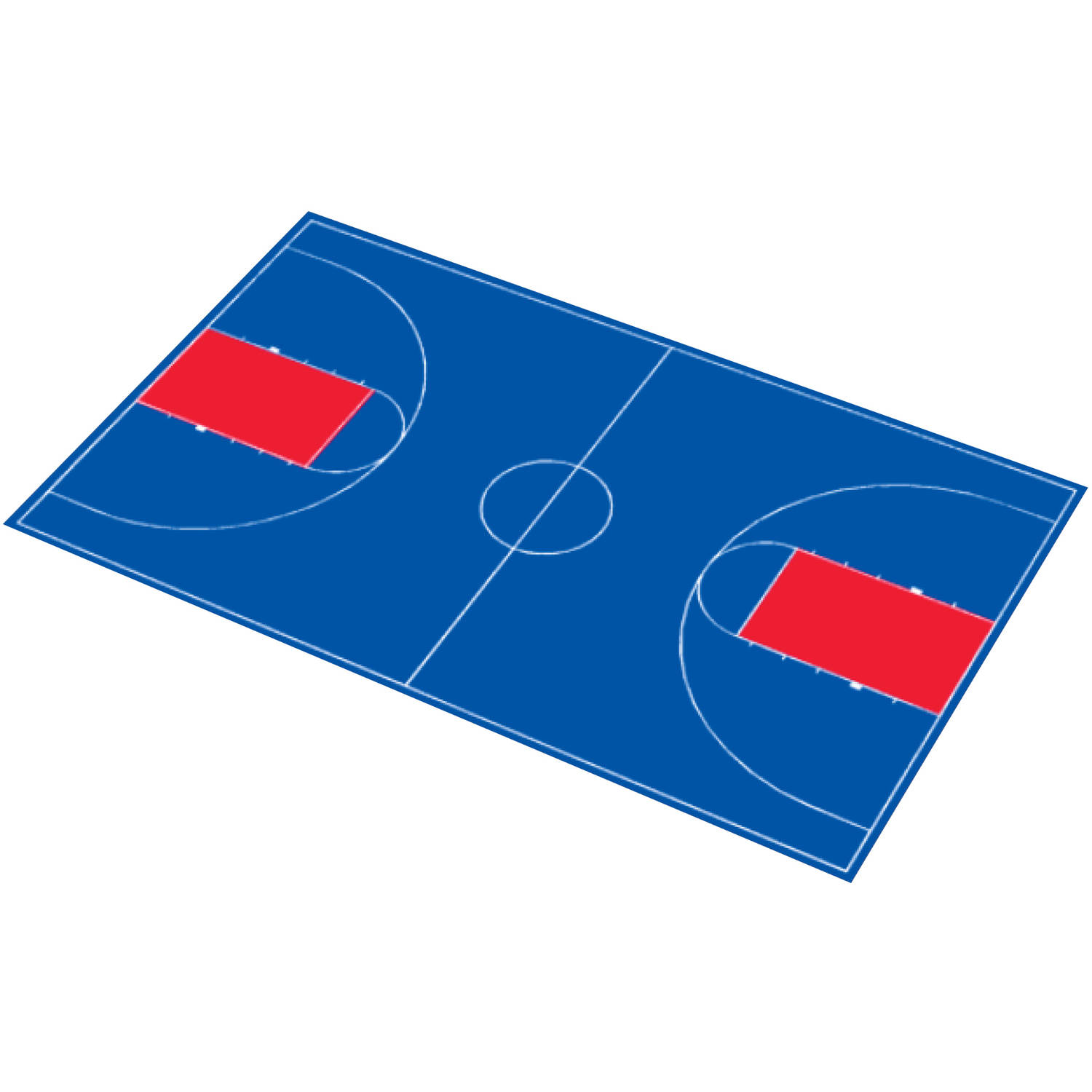 """DuraPlay Full Court Basketball Kit, 51' x 83'11"""", Royal Blue and Red"""