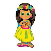 "XL 28"" Hula Girl Super Shape Mylar Foil Balloon Hawaiian Luau Party"