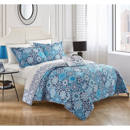 Chic Home 4-Piece Norwell 100% Cotton 200 Thread Count Bohemian Inspired Printed REVERSIBLE Queen Quilt Set Blue