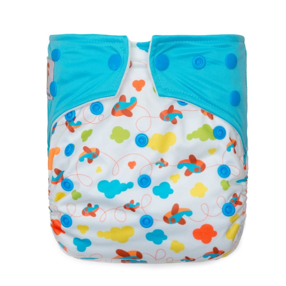 Kawaii Baby Printed One Size Cloth Diaper Snap Closure 2 Microfiber Inserts  Airplanes