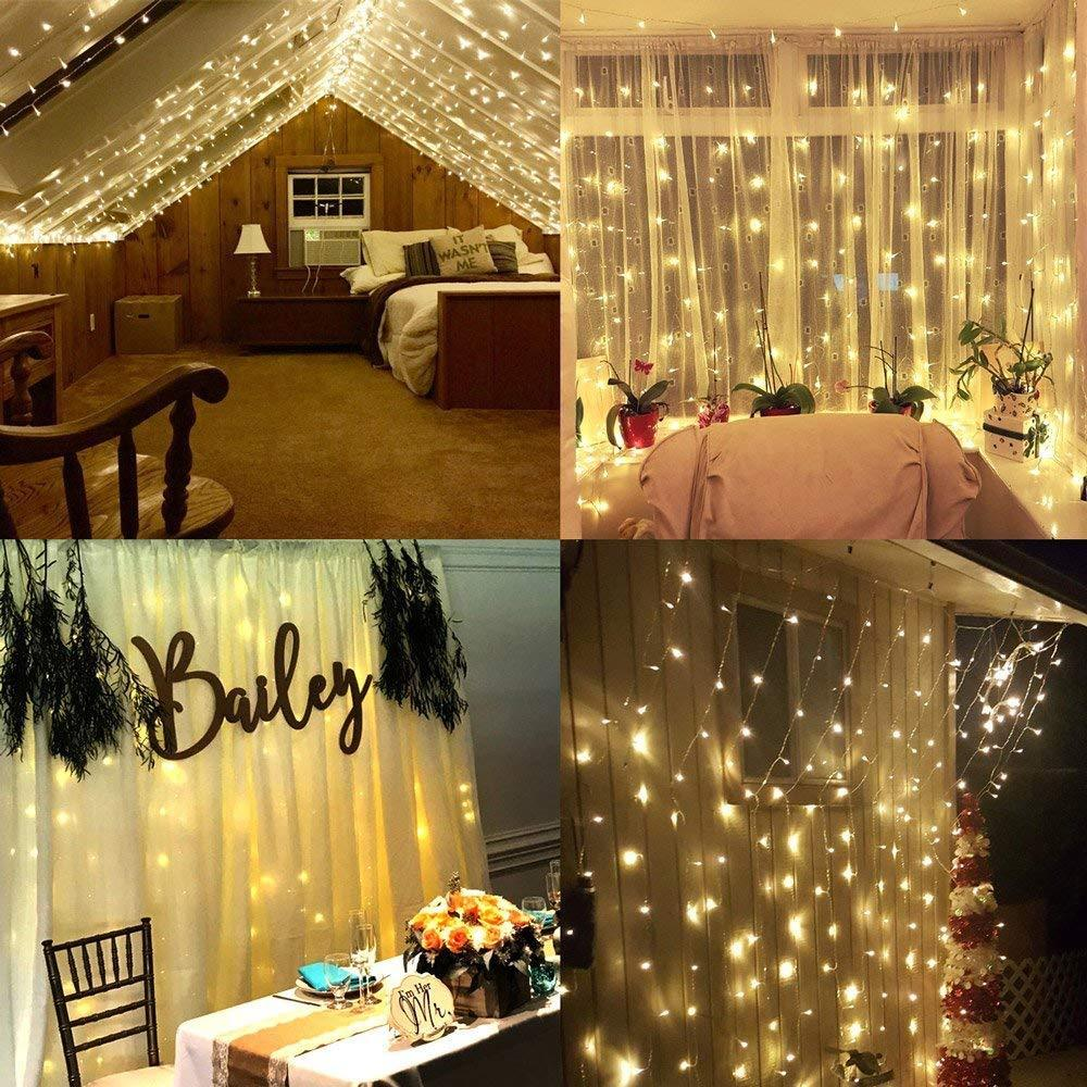 LED Window Curtain String Light, 9.8ftx9.8ft 304 LED 8 Modes Setting Fairy Light String for Indoor Outdoor Wall Decoration Christmas Xmas Wedding Party Warm White