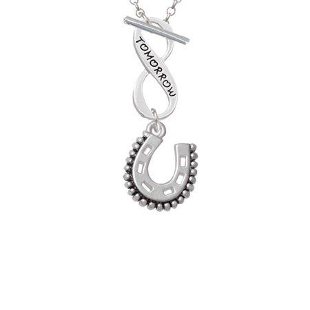 (Beaded Horseshoe Today Tomorrow Infinity Toggle Chain Necklace)