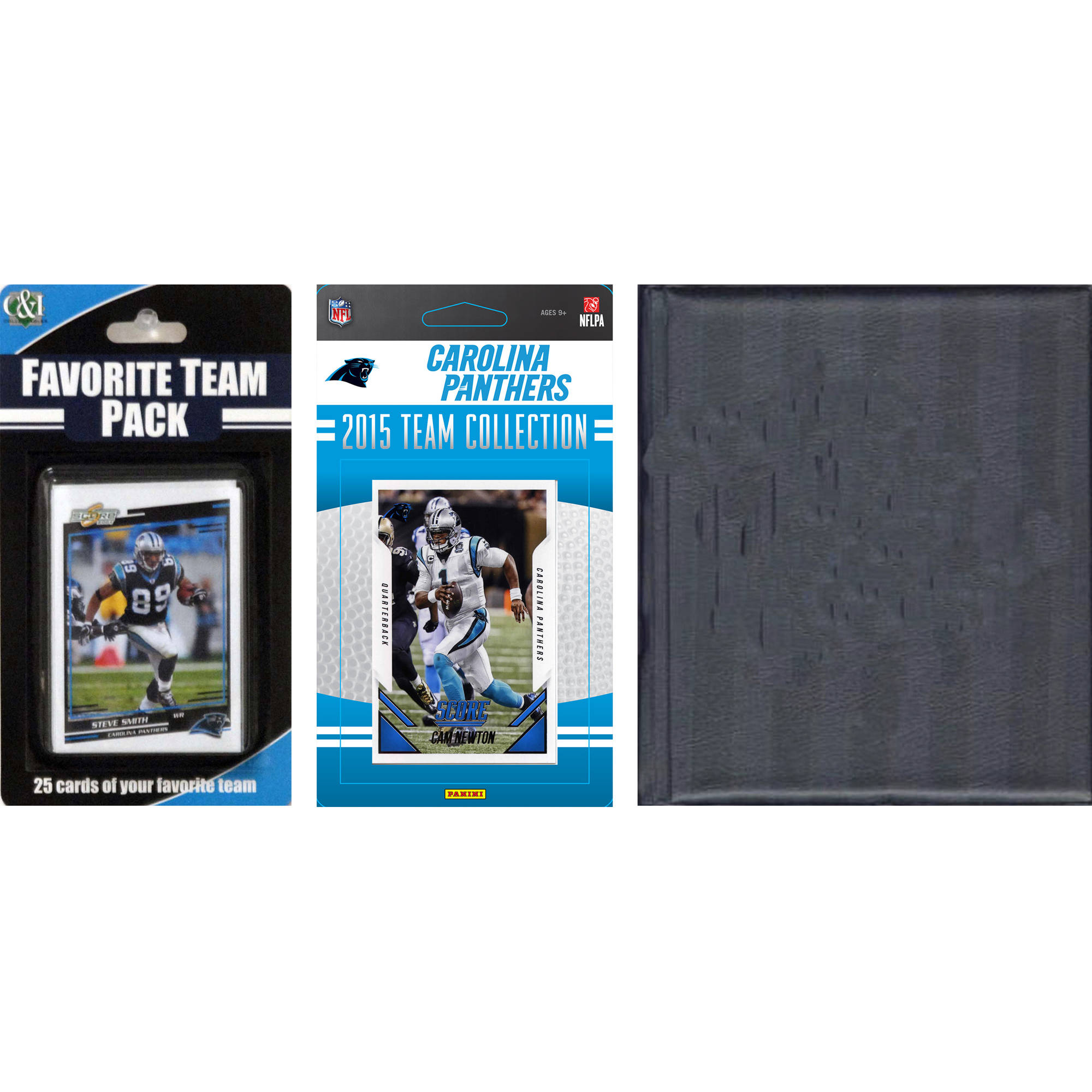C&I Collectables NFL Carolina Panthers Licensed 2015 Score Team Set and Favorite Player Trading Card Pack Plus Storage Album