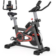Famistar Exercise Bike Indoor Cycling Stationary Bike with 45Lbs Flywheel, LCD Display, Adjustable Seat and Handlebars Smooth Quiet Belt for Home Cardio Gym Workout Water Bottle As Gifts