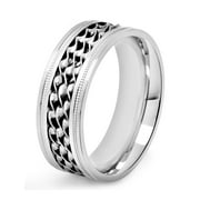 Stainless Steel Triple Twisted Rope Inlay Milgrain Ring