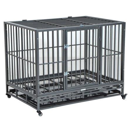 Pawhut Heavy Duty Steel Dog Crate with Wheels