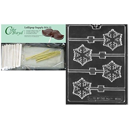 CybrTrayd C468 Frozen Snowflake Lolly Chocolate Candy Mold with 25 4.5-Inch Lollipop Sticks, Clear](Snowflake Candy)