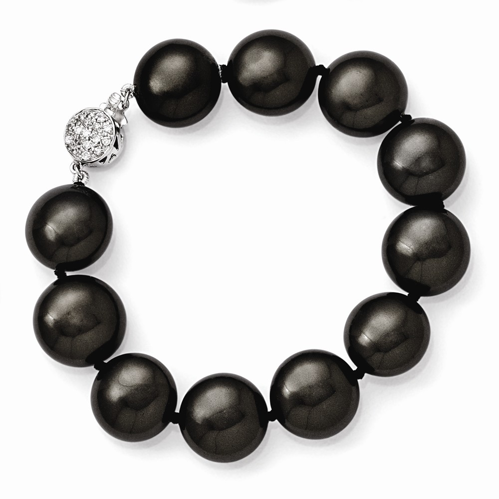 Sterling Silver Majestik 14-15mm Coin Black Shell Bead w/CZ Clasp Bracelet