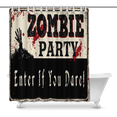 MKHERT Zombie Party Vintage Rusty Metal Sign Halloween Theme Decor Waterproof Polyester Fabric Shower Curtain Bathroom Sets Rings 66x72 inch](Halloween Themed Meal)