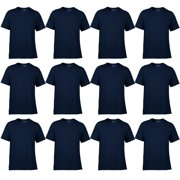 Classic Fit Mens Small Adult Short Sleeve T-Shirt, Navy Blue (12 Pack)