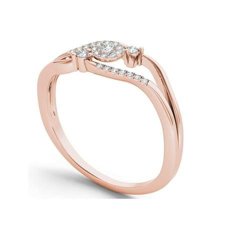 Diamond Split Shank Ring - 1/8Ct TDW Diamond 10K Rose Gold Cluster Split Shank Ring