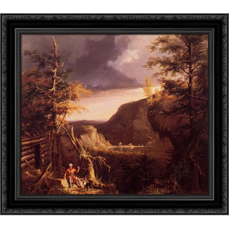 Osage Wood (Daniel Boone Sitting at the Door of His Cabin on the Great Osage Lake, Kentucky 21x20 Black Ornate Wood Framed Canvas Art by Cole, Thomas)