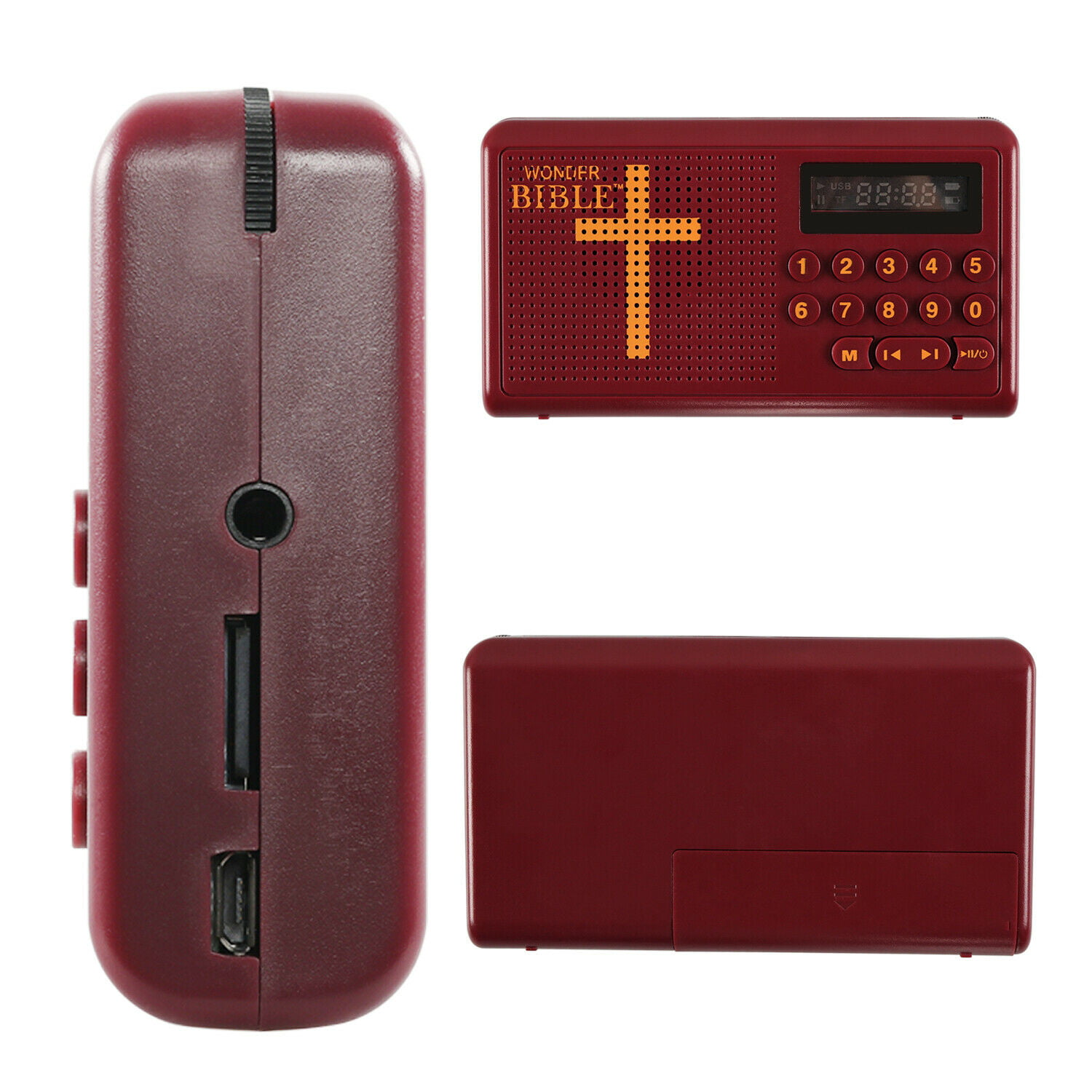 White A portable audio player that can listen to the Bible from anywhere