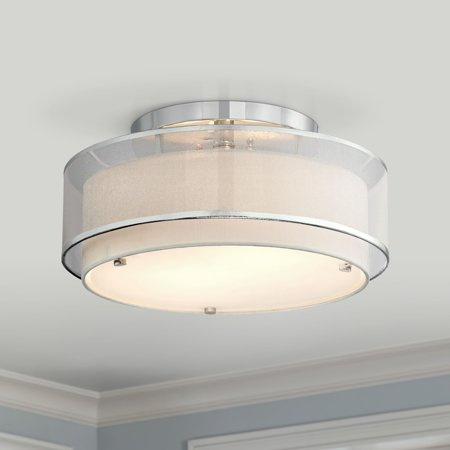 16in Semi Flush (Possini Euro Design Modern Ceiling Light Semi Flush Mount Fixture Chrome 16