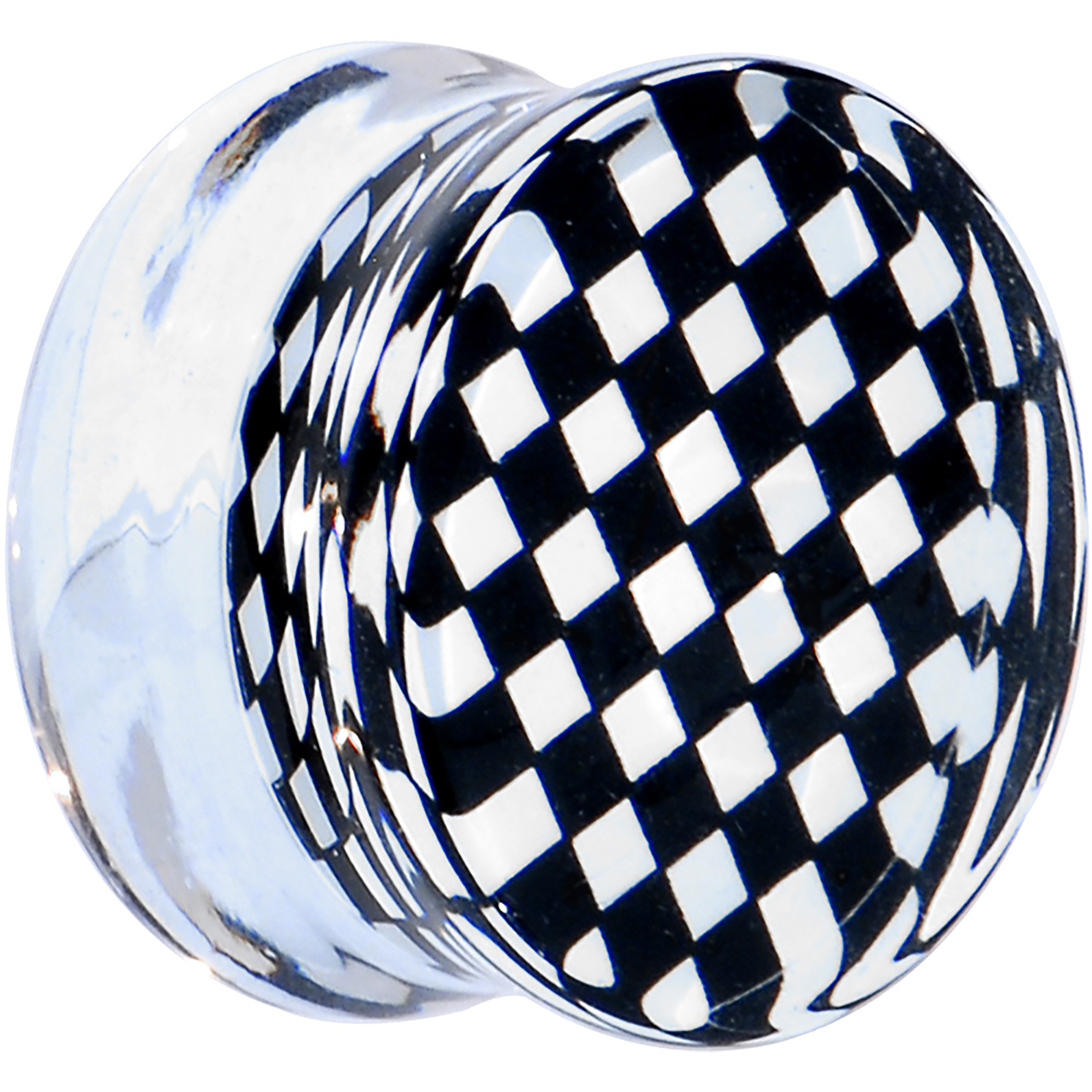 Body Candy Clear Acrylic Black and White Checker Inlay Saddle Plug (1 Piece) 00 Gauge