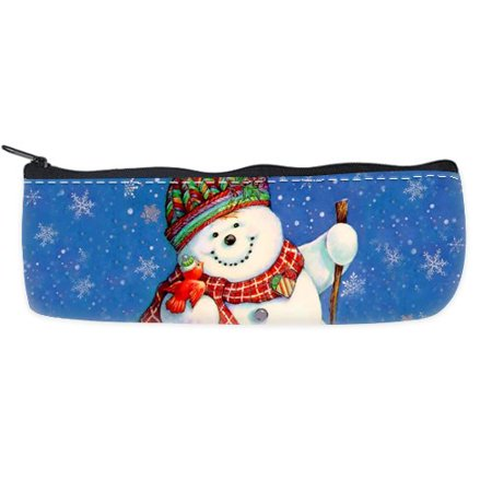- POPCreation Merry Christmas Snowman Cute School School Pencil Case Pencil Bag Zipper Organizer Bag