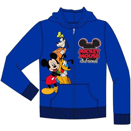 Disney Toddler Mickey Friends Goofy Pluto Zip Up Hoodie, Royal Blue 2T Blue Zip Hooded Sweatshirt