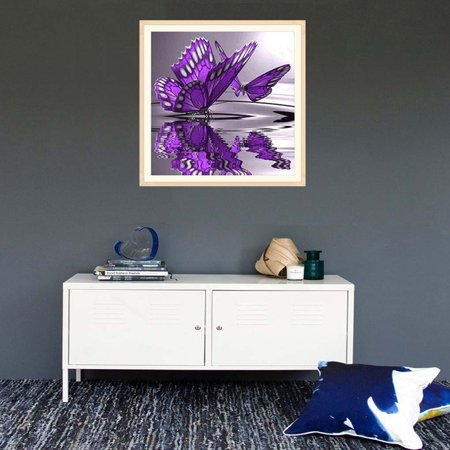 outdoorline 5D Diy Crystal Diamond Painting Purple Butterfly On The Water Round Rhinestone Handcraft Cross Stitch Room Decoration - image 6 of 9