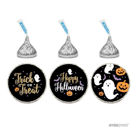 Chocolate Drop Labels Trio, Fits Hershey's Kisses Party Favors, Happy Halloween , 216-Pack, Envelope Seals Stickers - Happy Halloween Birthday Party