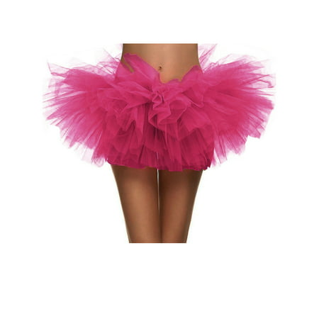 Women's Vintage 5-layered Run Walk Little Princess Dash Event Tutu Skirt, Rose (Halloween Events Near Me)