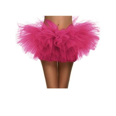 Women's Vintage 5-layered Run Walk Little Princess Dash Event Tutu Skirt, Rose (Halloween Orange Is The New Black)