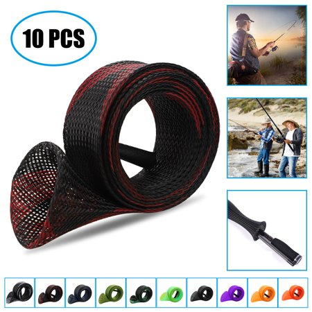 10PCS Fishing Rod Sleeve Rod Socks Fishing Rod Covers PET Braided Mesh Rod Protector Fishing Gear Tools Accessories for Bait Casting Sea Fishing Rod, Good resistance to salt corrosion thumbnail