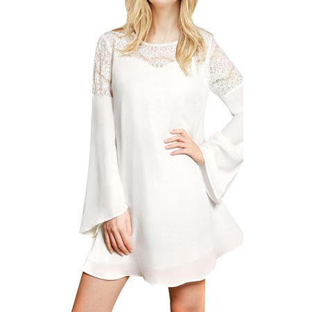 Bell Bottom Dress (Women's Lace Panel Bell Sleeves Round Neck Tunic)