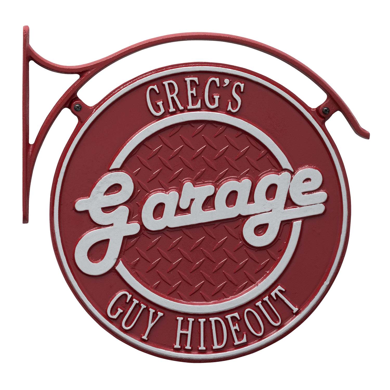 Personalized Whitehall Products 14-Inch Hanging Garage Plaque with Bracket in Red/Silver