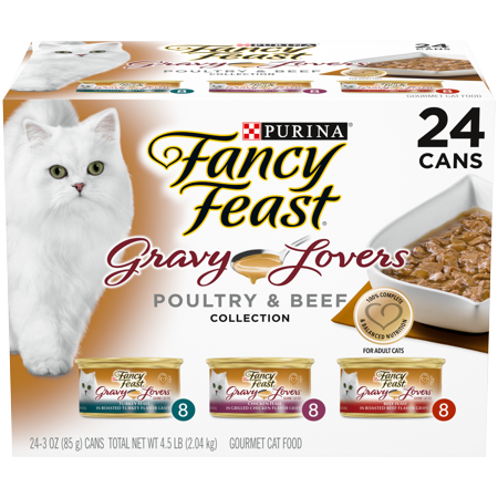 Fancy Feast Gravy Wet Cat Food Variety Pack, Gravy Lovers Poultry & Beef Feast Collection - (24) 3 oz.