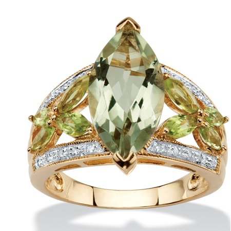 4.83 TCW Marquise-Cut Genuine Green Amethyst and Peridot 10k Gold Ring - Green Amethyst Fashion Ring