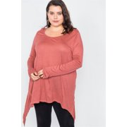 Plus Size Solid Shark Bite Raw Hem Top 3XL