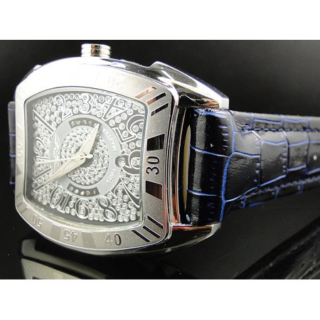 King Master King Master Rounded Black & Blue Reptile Diamond Watch