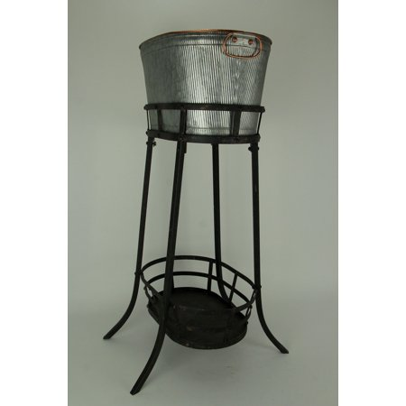 Antiqued Ribbed Metal Flowers and Garden Decorative Ice Tub On Stand - image 2 of 3