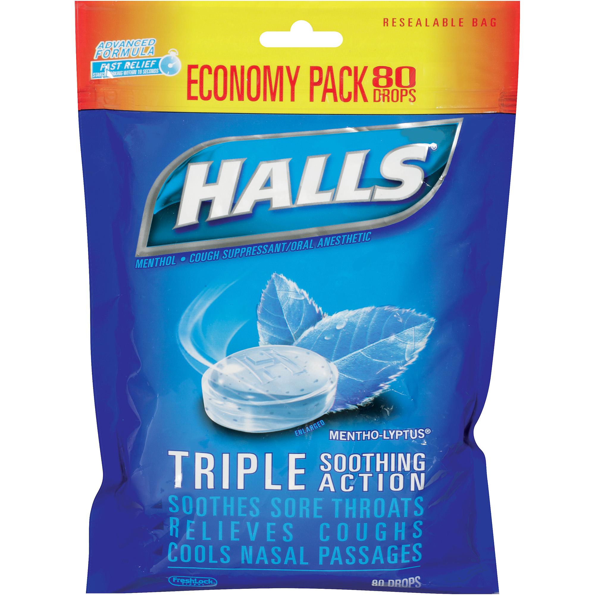 Halls Mentho-Lyptus Menthol Drops Cough Suppressant, 80 count