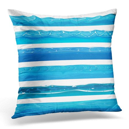 ARHOME Blue Comic Water Ocean and River Layers for Ui Game of Waves and Streams for Sea Pillow Case Pillow Cover 20x20 inch