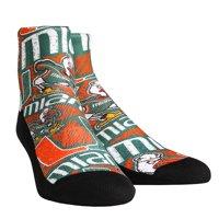 Miami Hurricanes Rock Em Socks Women's Logo Sketch Quarter Socks