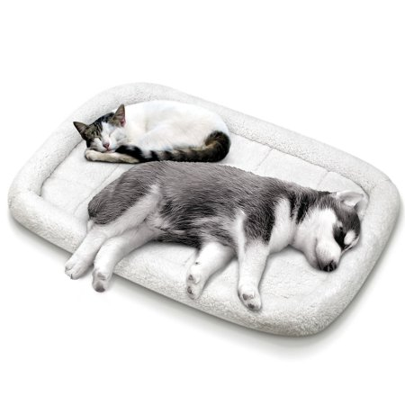 Paw Cat Bed (Fluffy Paws Large Soft Warm Foldable Washable Pet Dog Cat Fleece Crate Mat Bed w/Accessories Pocket - White )
