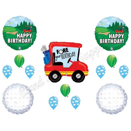 GOLF FORE YOUR Birthday Party Balloons Decoration Supplies Cart Man Clubs Ball, 14 piece Golfing Balloon Decorating Kit! By Anagram (Golf Club Decorating Ideas)