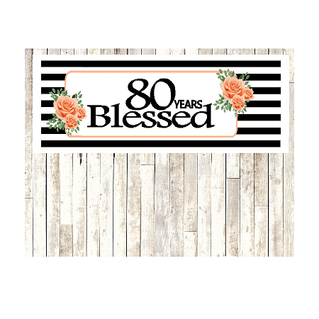 Number 80- 80th Birthday Anniversary Party Blessed Years Wall Decoration Banner 10 x 50inches](80th Birthday Color)