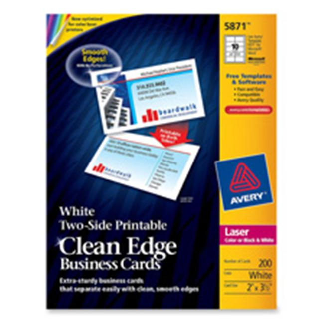Avery Consumer Products AVE5870 Business Cards- F-Laser Printer- 3-. 50inchx2inch- White