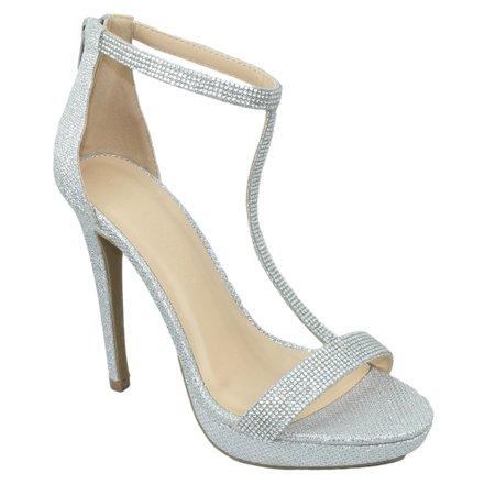 Wild Diva Women Ankle Strap High Heels Stiletto Open Toe Rhinestone Back Zipper MADDEN-45 Silver Glitter 5