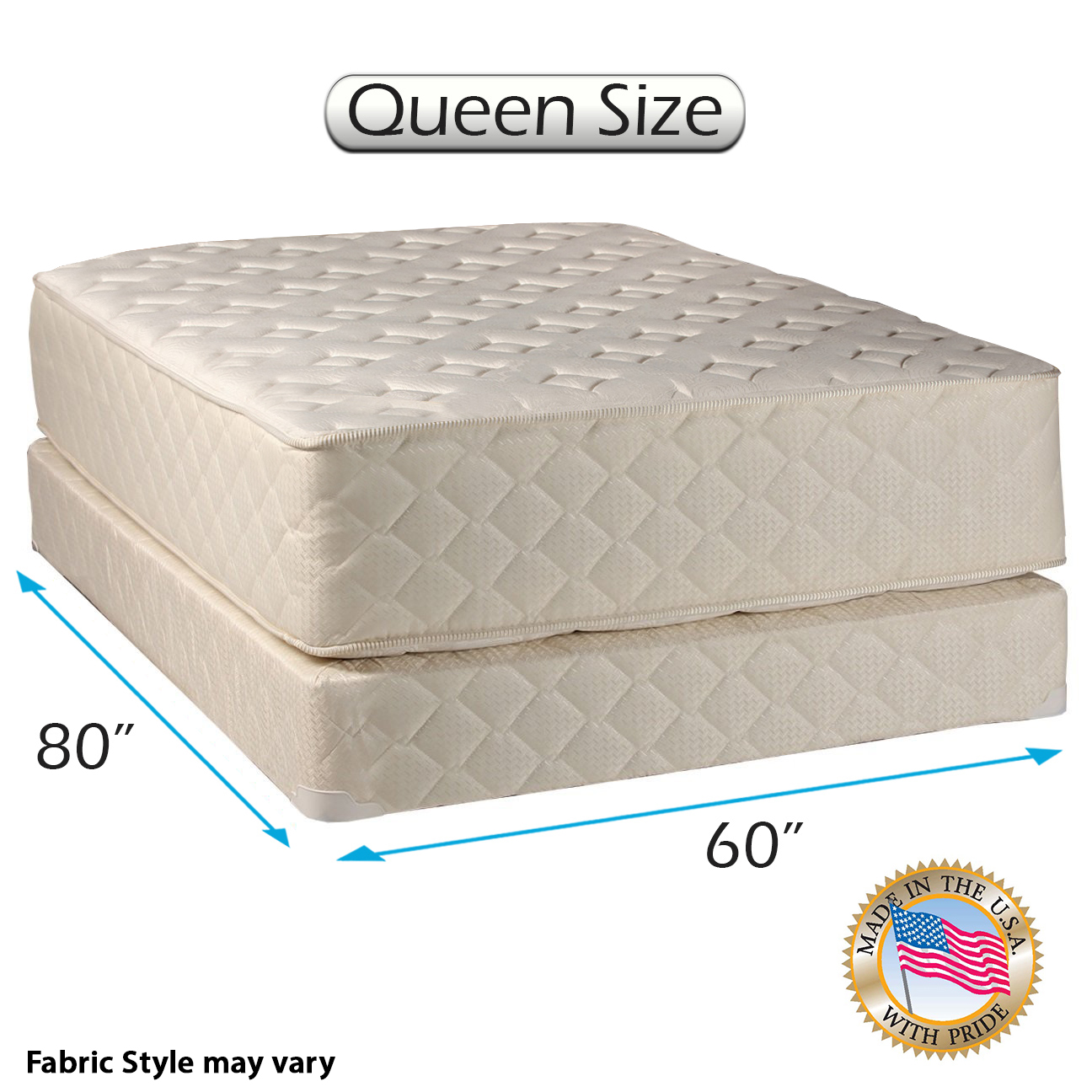 "Highlight Luxury Firm Queen Size (60""x80""x14"") Mattress & Box Spring Set -"