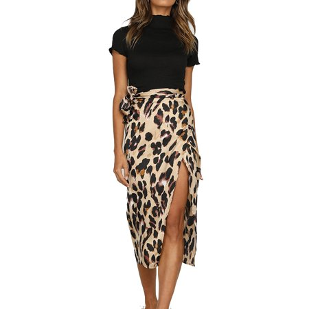 JustVH Women's Leopard Printed High Waist Slit Casual Knee Length Skirt