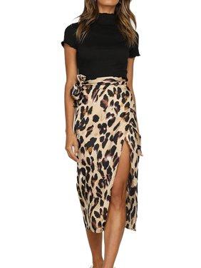 6989bd297 Product Image JustVH Women's Leopard Printed High Waist Slit Casual Knee  Length Skirt